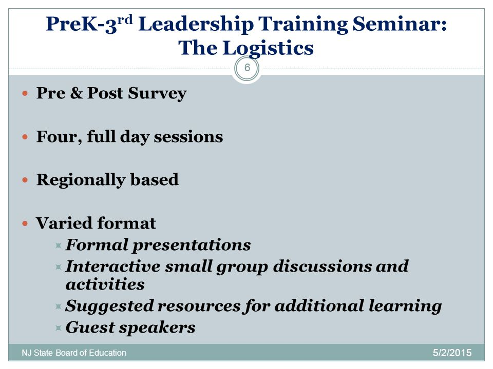 PreK-3rd Leadership Training Seminar: The Logistics