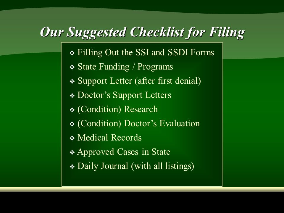 Our Suggested Checklist for Filing