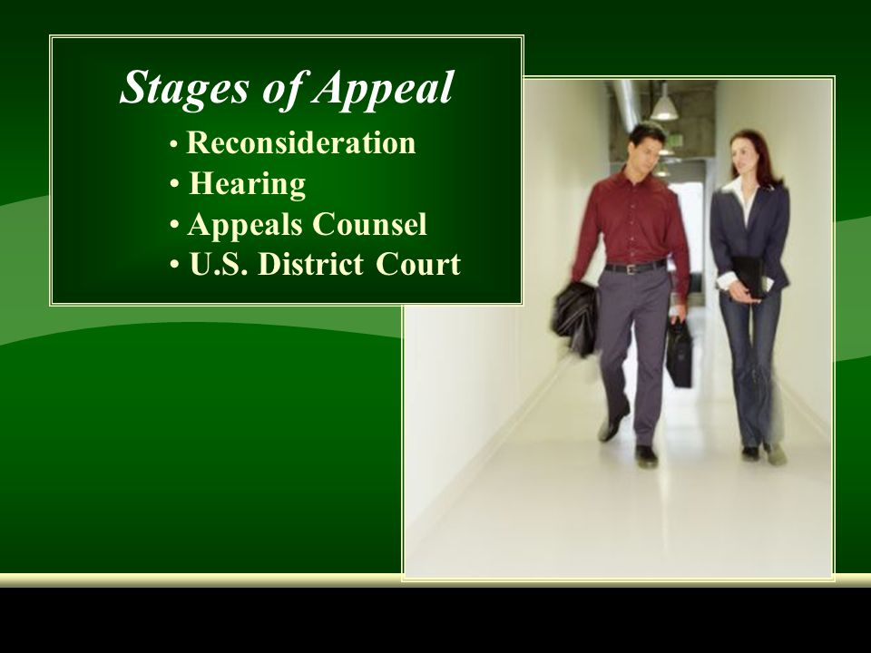 Stages of Appeal Hearing Appeals Counsel U.S. District Court
