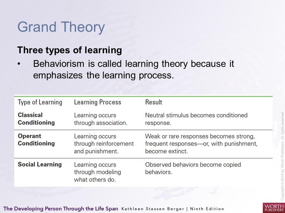 Grand Theory Three types of learning