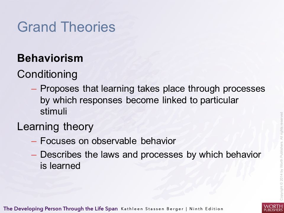 Grand Theories Behaviorism Conditioning Learning theory