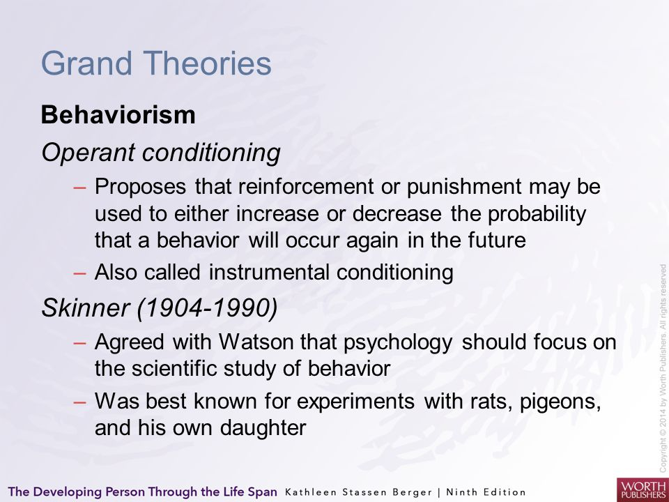 Grand Theories Behaviorism Operant conditioning Skinner (1904-1990)