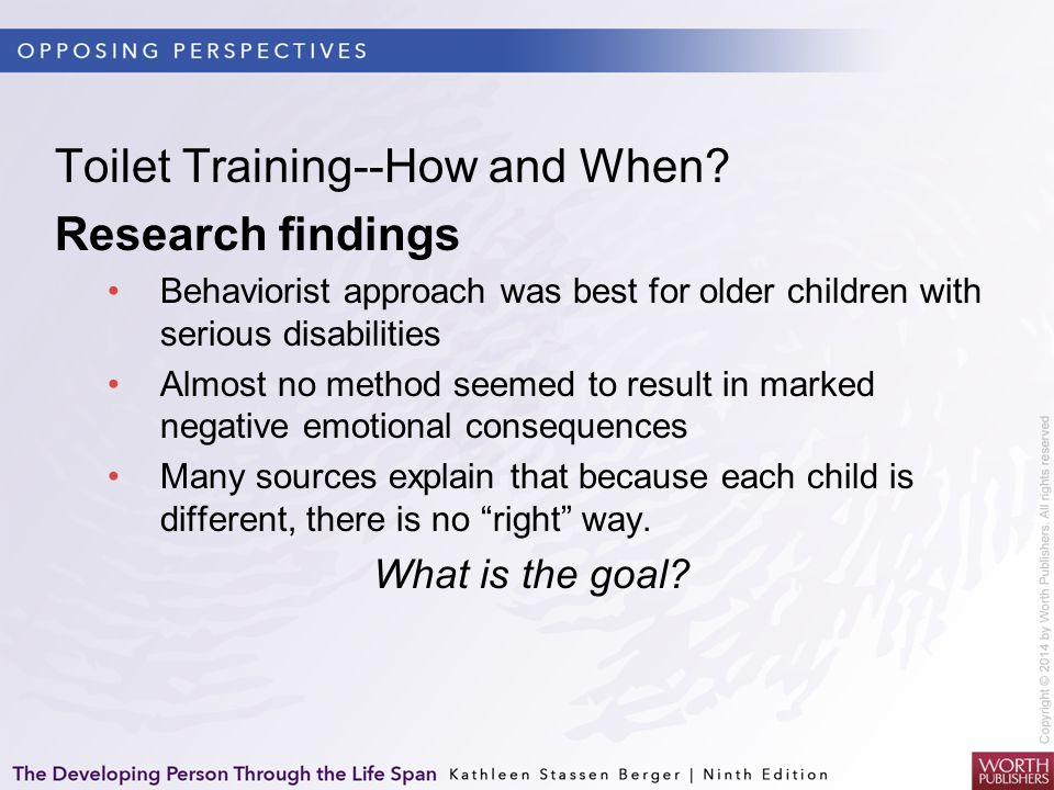 Toilet Training--How and When Research findings