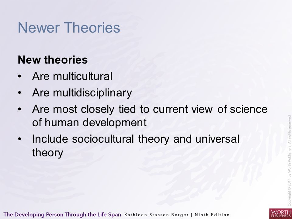 Newer Theories New theories Are multicultural Are multidisciplinary