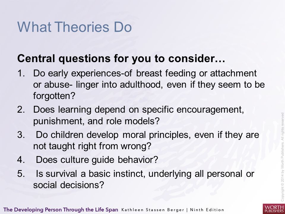 What Theories Do Central questions for you to consider…