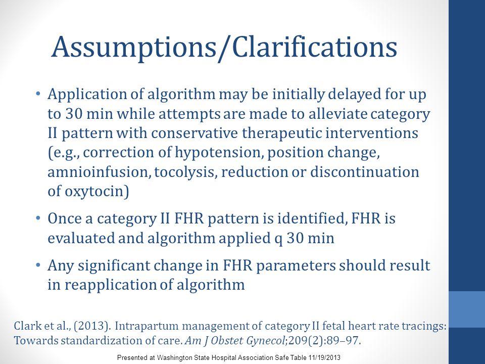 Assumptions/Clarifications