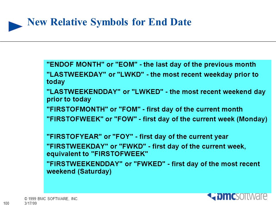 New Relative Symbols for End Date