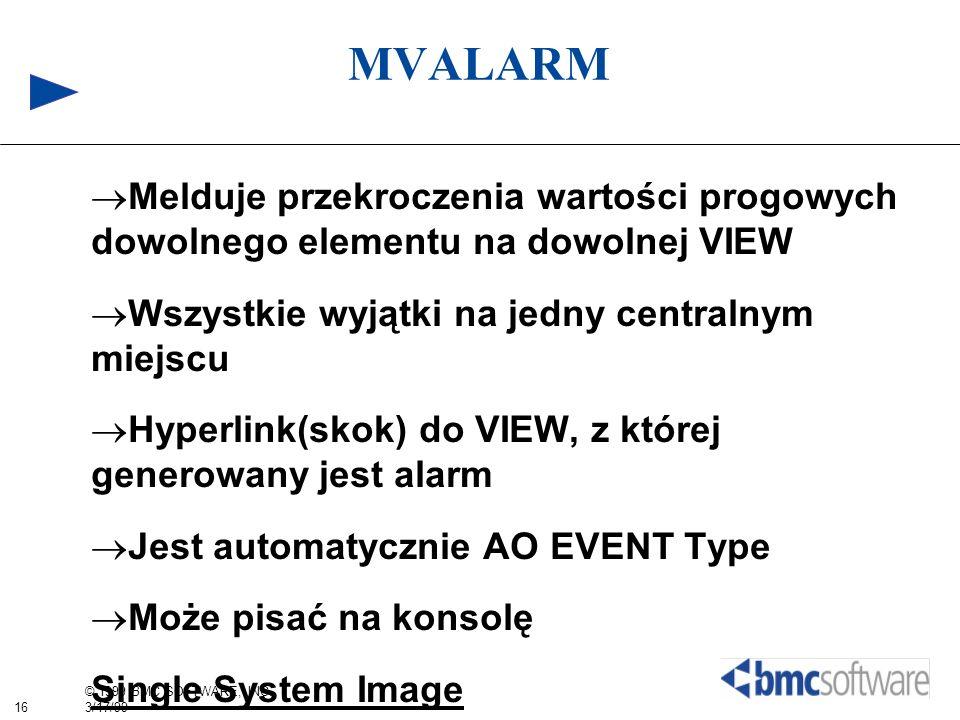 MVALARM Melduje przekroczenia wartości progowych dowolnego elementu na dowolnej VIEW. Wszystkie wyjątki na jedny centralnym miejscu.