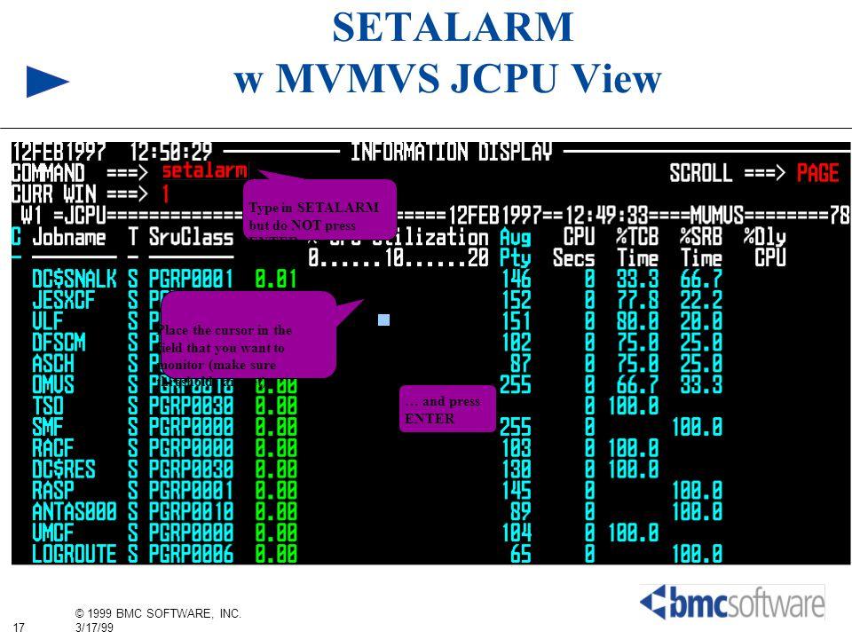 SETALARM w MVMVS JCPU View