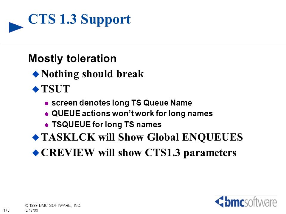 CTS 1.3 Support Mostly toleration Nothing should break TSUT