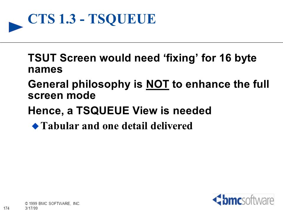 CTS 1.3 - TSQUEUE TSUT Screen would need 'fixing' for 16 byte names