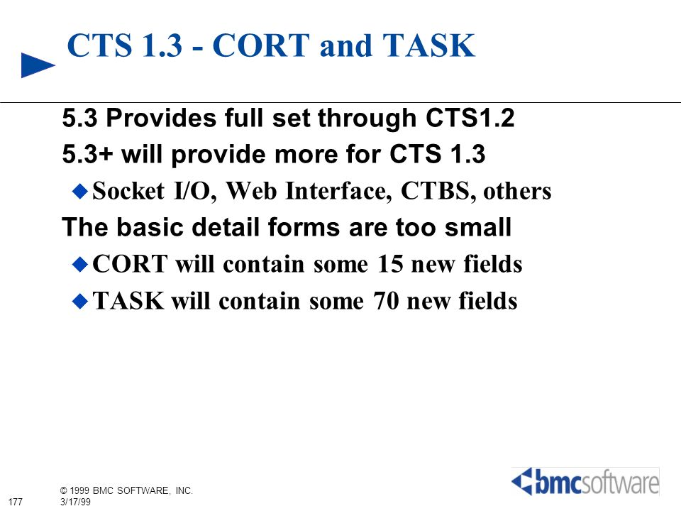 CTS 1.3 - CORT and TASK 5.3 Provides full set through CTS1.2