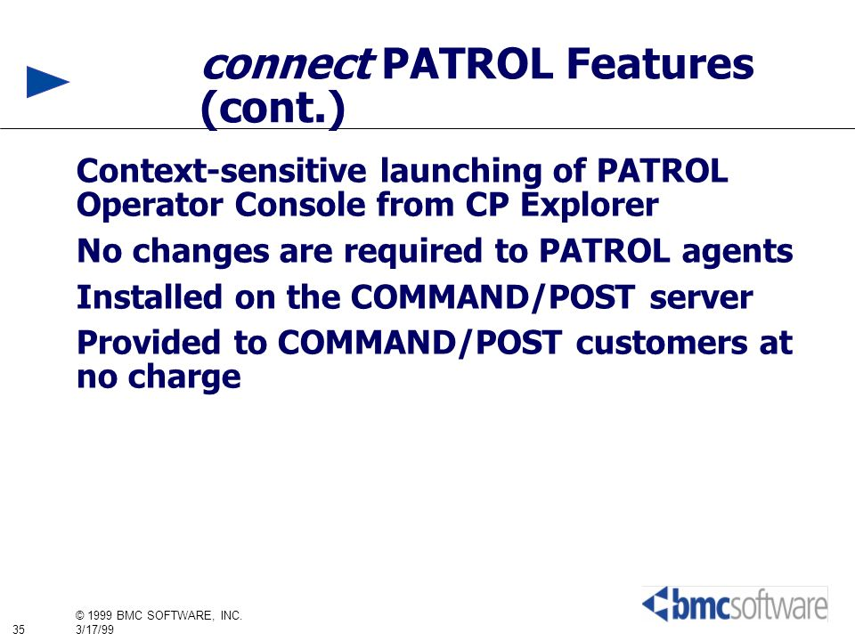 connect PATROL Features (cont.)
