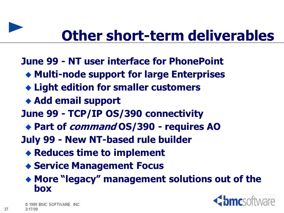 Other short-term deliverables