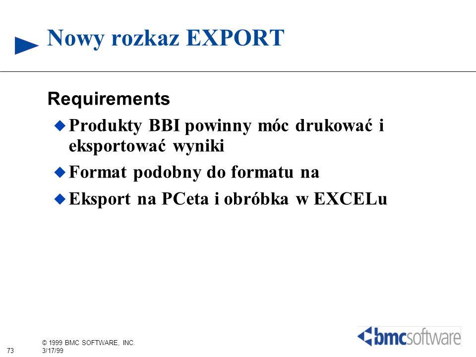 Nowy rozkaz EXPORT Requirements