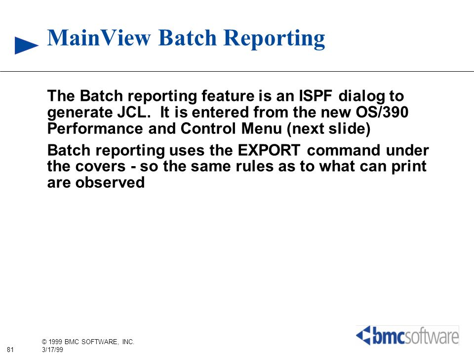 MainView Batch Reporting