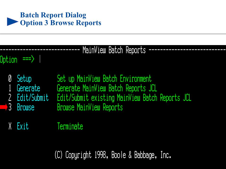Batch Report Dialog Option 3 Browse Reports