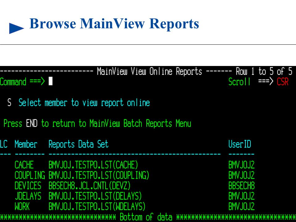 Browse MainView Reports