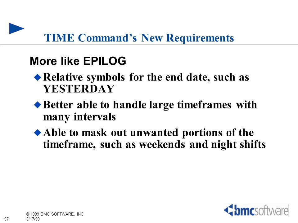 TIME Command's New Requirements