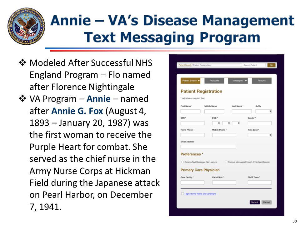 Annie – VA's Disease Management Text Messaging Program