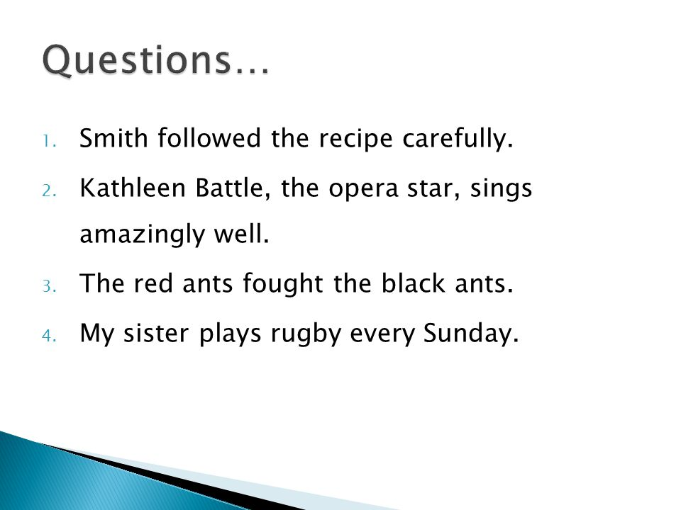 Questions… Smith followed the recipe carefully.