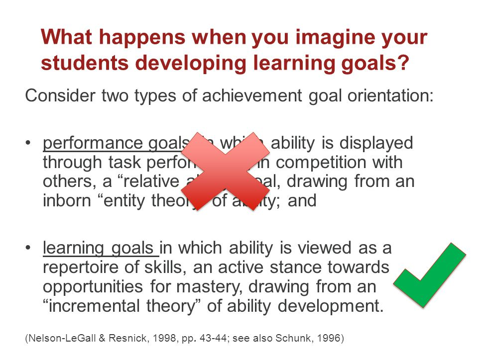 What happens when you imagine your students developing learning goals