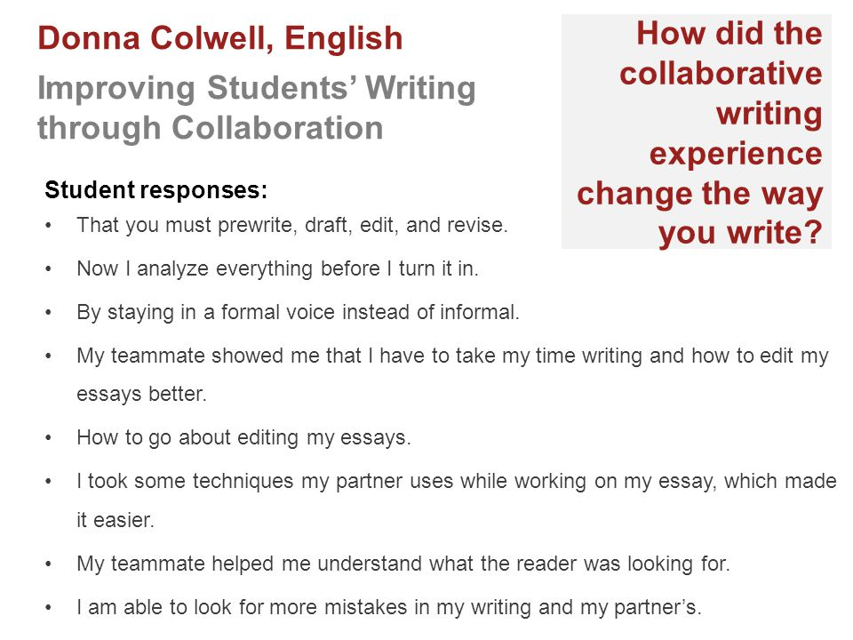 How did the collaborative writing experience change the way you write