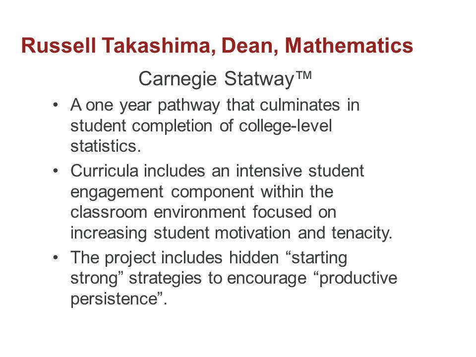 Russell Takashima, Dean, Mathematics