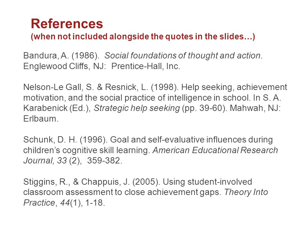 References (when not included alongside the quotes in the slides…)