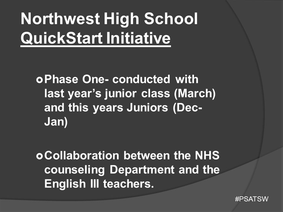 Northwest High School QuickStart Initiative