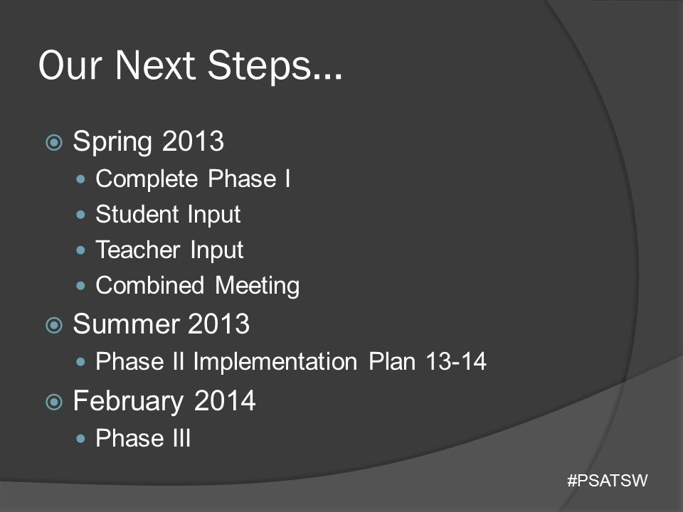 Our Next Steps… Spring 2013 Summer 2013 February 2014 Complete Phase I