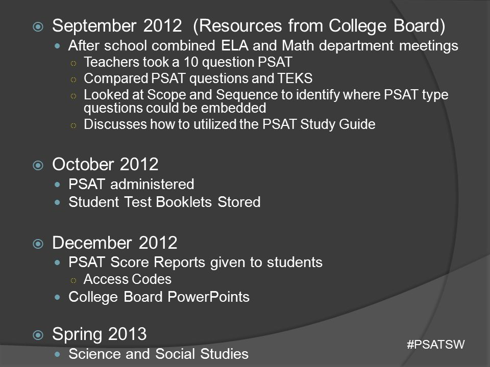 September 2012 (Resources from College Board)