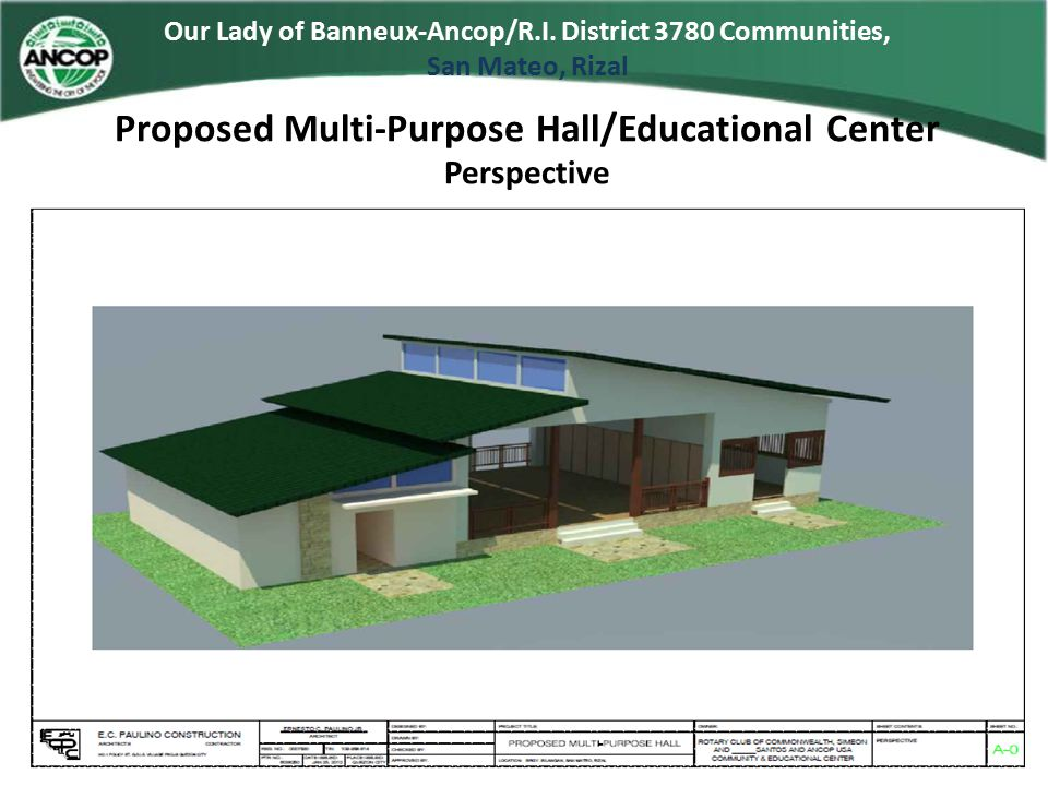 Proposed Multi-Purpose Hall/Educational Center