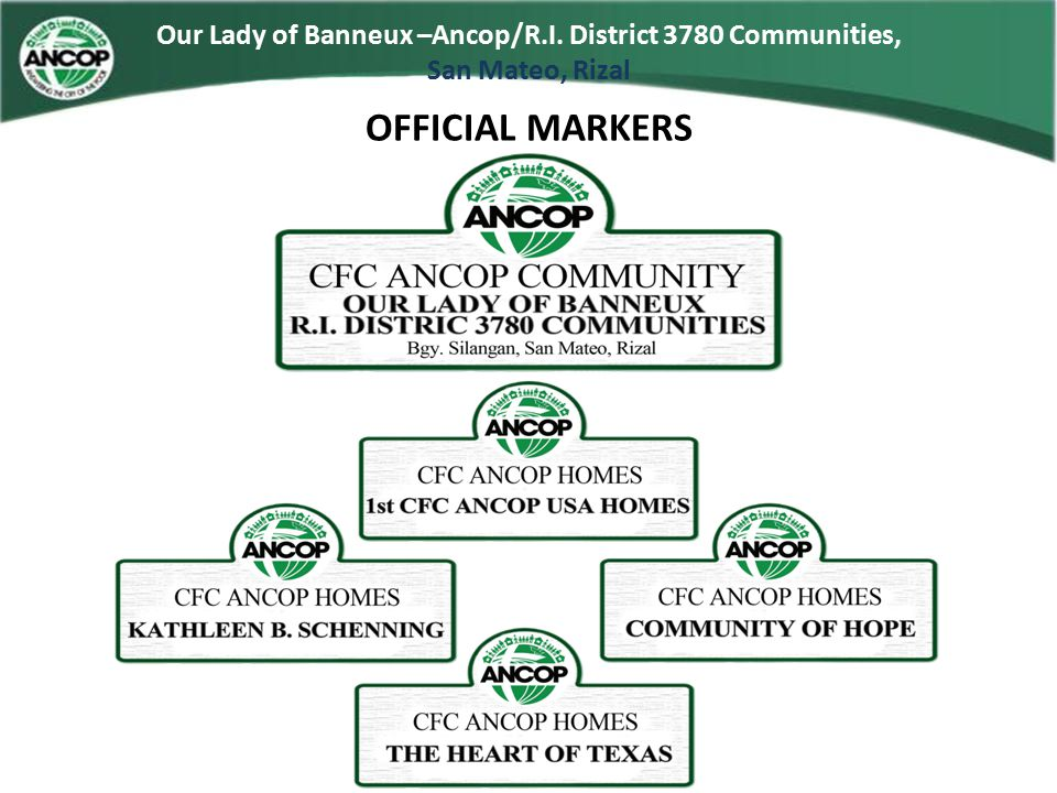 Our Lady of Banneux –Ancop/R.I. District 3780 Communities,
