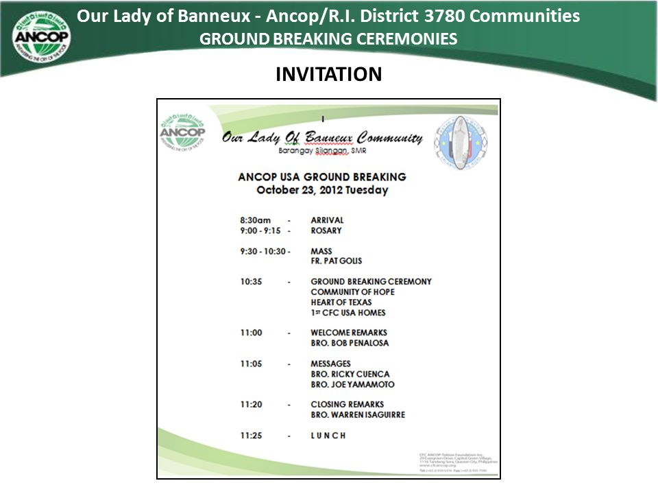 INVITATION Our Lady of Banneux - Ancop/R.I. District 3780 Communities