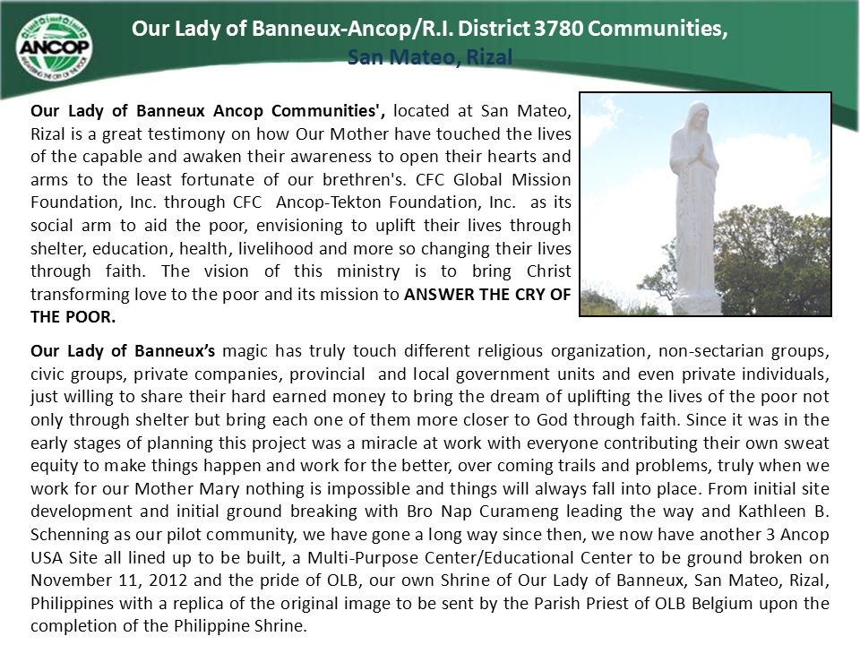 Our Lady of Banneux-Ancop/R.I. District 3780 Communities,