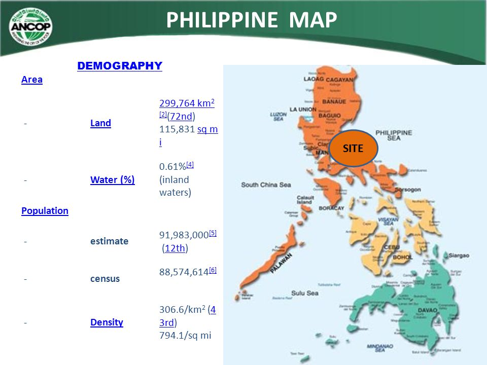 PHILIPPINE MAP SITE DEMOGRAPHY Area - Land