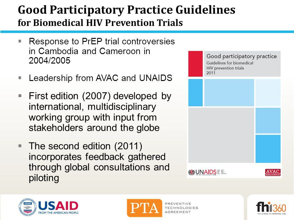 Good Participatory Practice Guidelines for Biomedical HIV Prevention Trials