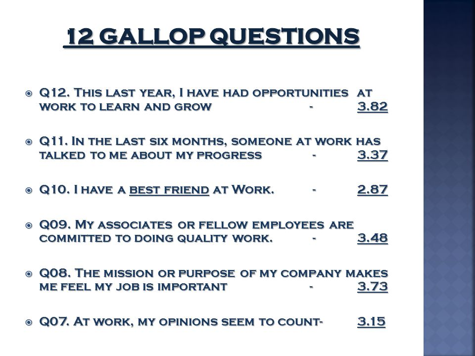 12 Gallop Questions Q12. This last year, I have had opportunities at work to learn and grow - 3.82.