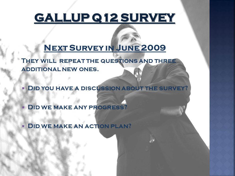 Gallup Q12 Survey Next Survey in June 2009