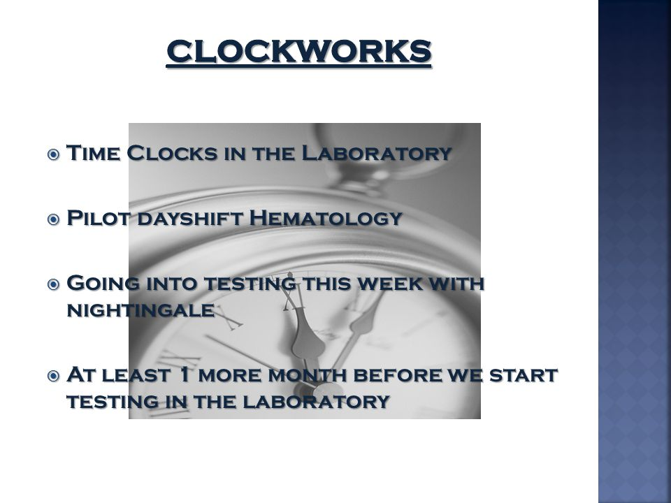 Clockworks Time Clocks in the Laboratory Pilot dayshift Hematology
