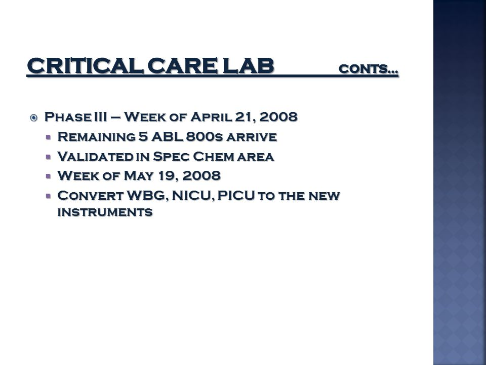 Critical Care lab conts…