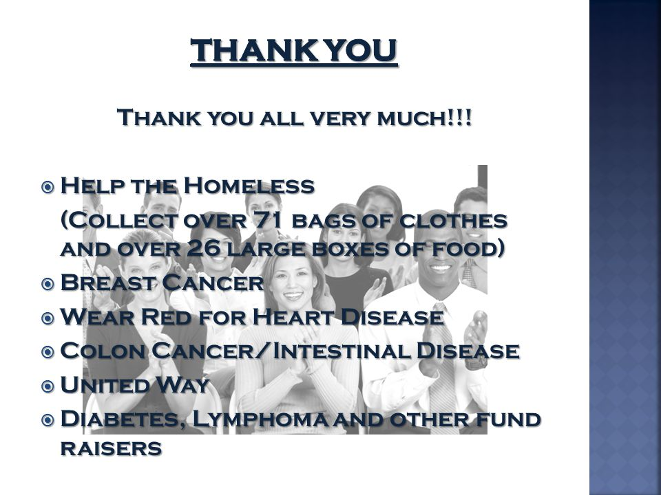 Thank You Thank you all very much!!! Help the Homeless