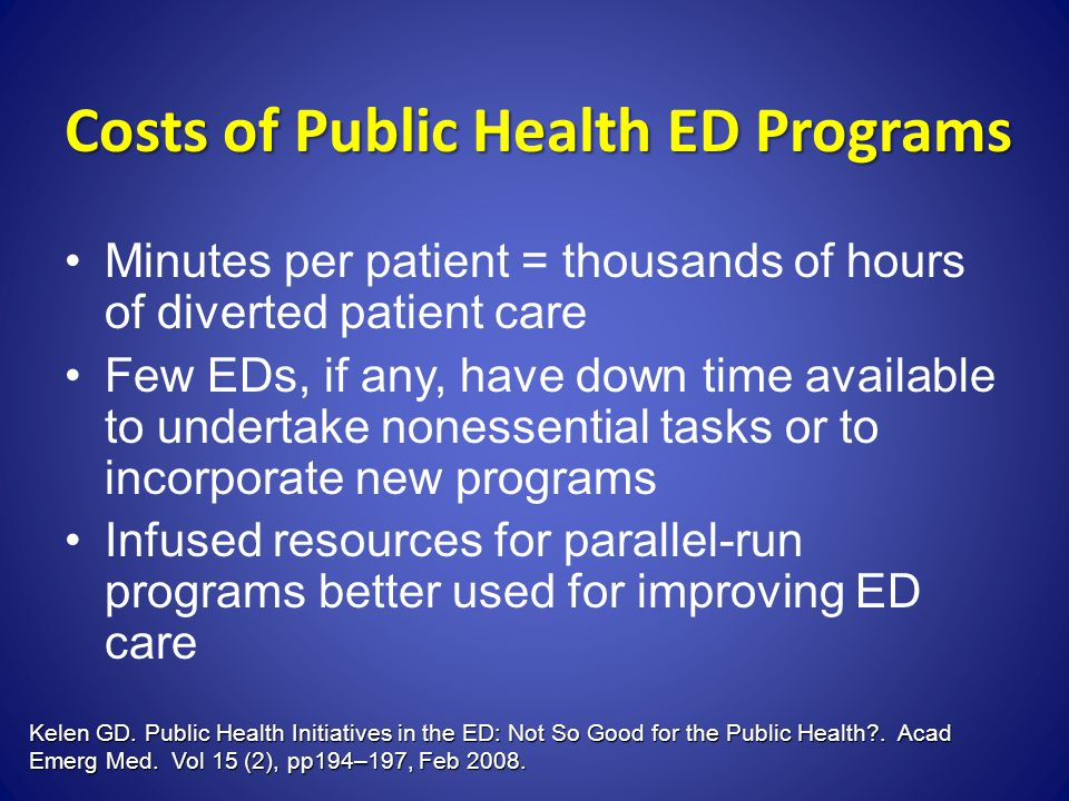 Costs of Public Health ED Programs