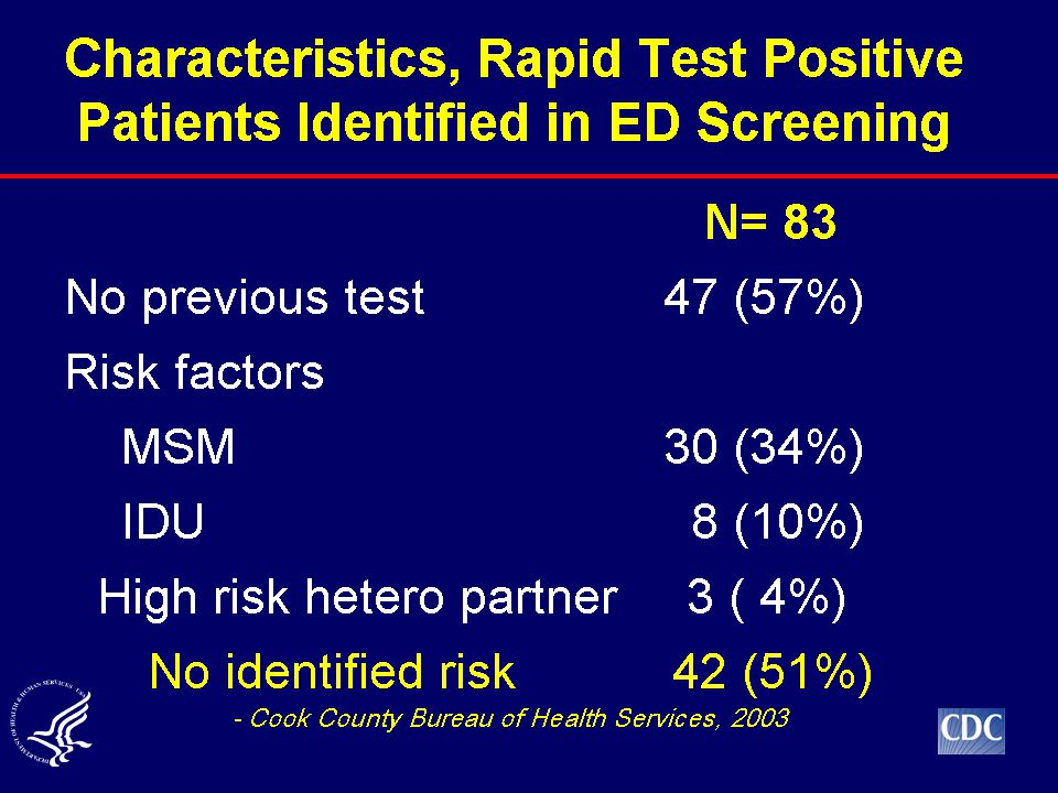 With respect to testing based on risk assessment, these figures come from a study of routine screening with rapid HIV tests in the Emergency Department of the Stroger (Cook County) Hospital in Chicago.