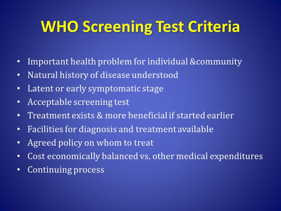 WHO Screening Test Criteria