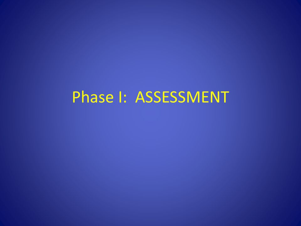 Phase I: ASSESSMENT First phase is assessment.