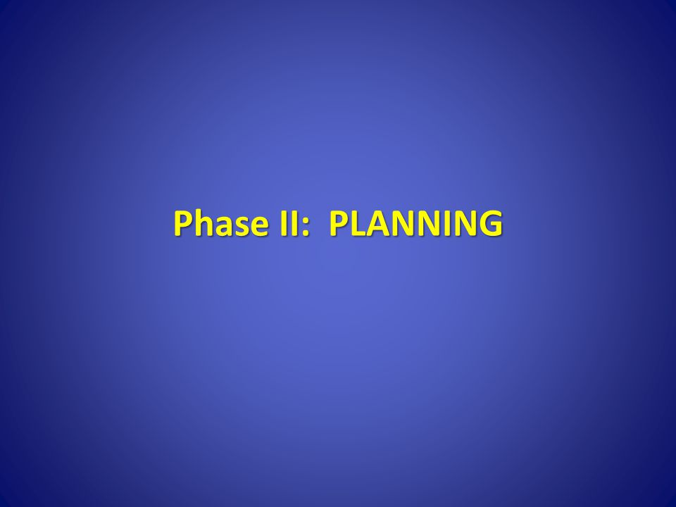 Phase II: PLANNING Second phase is planning.