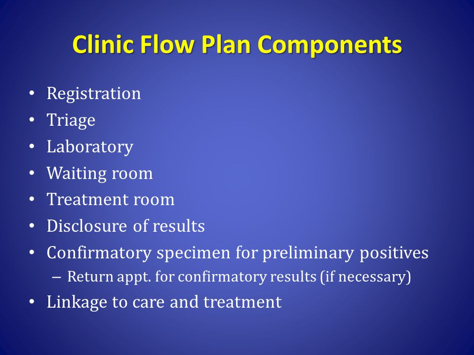 Clinic Flow Plan Components