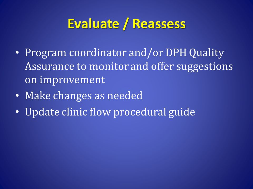 Evaluate / Reassess Program coordinator and/or DPH Quality Assurance to monitor and offer suggestions on improvement.